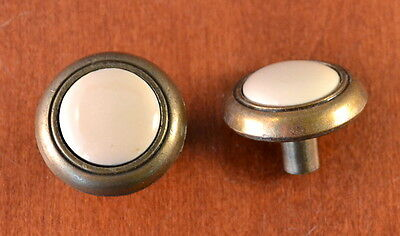 Set of 2 Mid-Century SOLID Brass & Ivory Ceramic Furniture Knobs