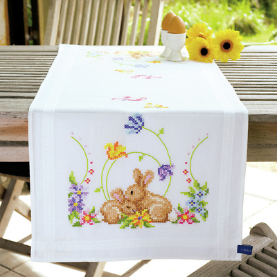 Vervaco Rabbits Table Runner Embroidery Kit