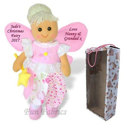 Personalised Rag Doll Christmas Fairy Dolly Girls Gift - Baby's First Xmas Box