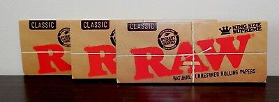 3X RAW KING SIZE CLASSIC SUPREME PAPERS Uncreased~Cigarette Rolling Papers