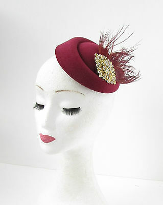 Burgundy Red Gold Silver Feather Pillbox Hat Fascinator Hair Clip Vtg 1940s 781