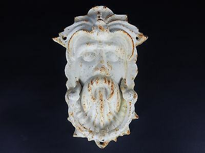 Antique Cast Iron Victorian Bacchus Door Knocker White 9 3/4""