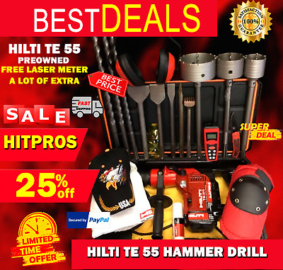 Hilti Te 55 Hammer Drill, Preowned, Free Laser Meter, A Lot Of Extras, Fast Ship