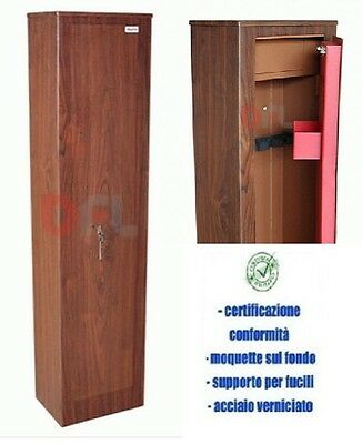 Armadio Portafucili 3 - 5 Posti Fuciliera Keyman Security Finitura In Legno New