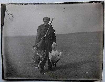 1930s Russia Soviet Officer Hunter Budenovka Rifle with Prey Real Photo