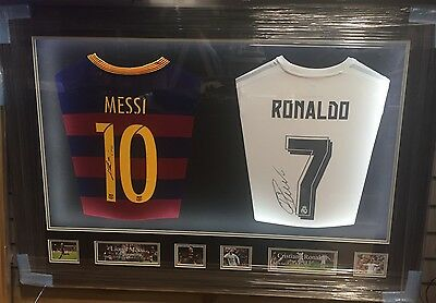 Dual Framed Lionel Messi and Cristiano Ronaldo Signed Shirt Rare COA Light Up