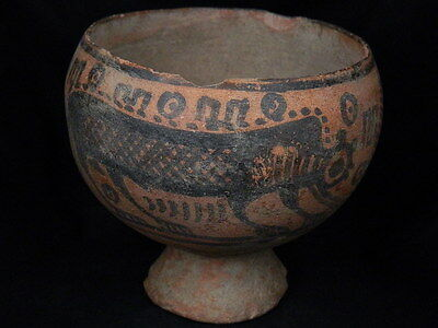 Ancient Teracotta Painted Cup With Lions Indus Valley 2500 BC    #PT15549