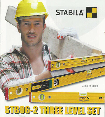 "Stabila 2pc Ribbed Box Section/Brick Layer Fav Level Set 48""/120cm & 24""/60cm"