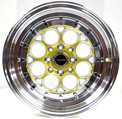 *two Wheel Only*15X8 Polished Gold Vms Racing Revolver Rims Wheels 4X100 Et20