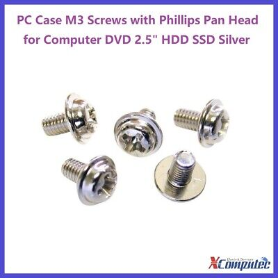"PC Case M3 ScrewS with Phillips Pan Head for Computer DVD 2.5"" HDD SSD Silver"