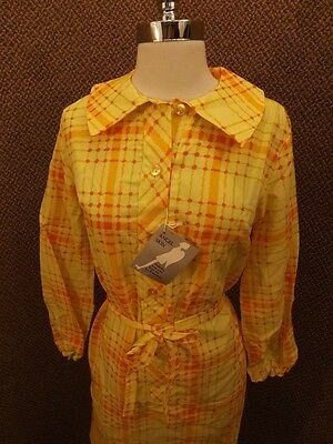 NOS Vtg 1964 Angel Skin Bright Bold YELLOW PLAID BELTED SHIRT DRESS 17/18 Casual