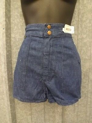 NOS True Vtg 1970s Indigo 100% Cotton HIGH WAISTED DENIM SHORTS Sz 5/6 Waist 24