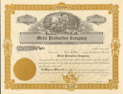 Metal Production Company > California gold mining stock certificate share