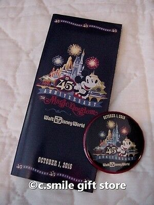 WDW Magic Kingdom 45th Anniversary October 1, 2016 Button & Park Map/Poster