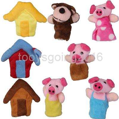 Set of 8 Three Little Pigs Story Finger Puppets Kids Attractive Bed Toy