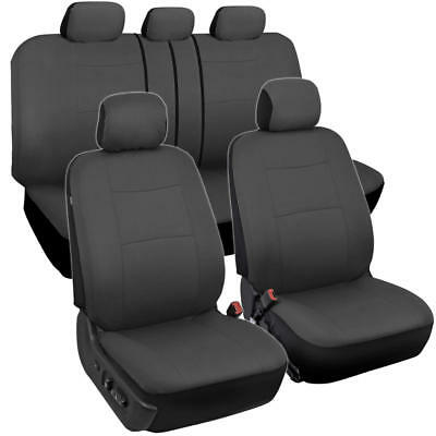 Solid Gray Car Seat Covers for Sedan SUV Truck Split Bench Option 5 Headrests