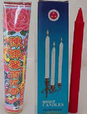 Chang Luen Hing Joss Stick Incense 500g +Three Stars Bright Candle Red Religious