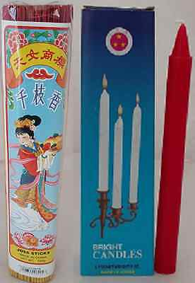 Thien Ni Joss Stick Incense 500g + Three Stars Bright Candle Red 230g Religious