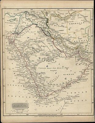 Arabia c.1830's rare Samuel Arrowsmith engraved antique map old hand color