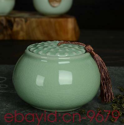Longquan celadon hand-painted ceramic tea caddy Ceramic Canister Crafts tea