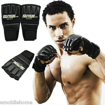 1 Pair Gym Thai Sparring Training Boxing Punch Ultimate Mitts Fingerless Gloves.