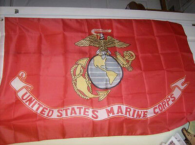 """Marine 3'x5' Flag """"us Marine Corp"""" Polyester Sold By A Vietnam Vet"""