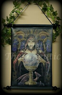 ~'CRYSTAL BALL' FANTASY WALL SCROLL~Anne Stokes Collectible~Wicca~Pagan~Dragon