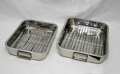 2Pc Stainless Steel Roasting Trays Oven Pan Dish Baking Roaster Tray Grill Rack