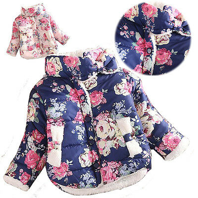 Baby Girl Toddler Winter Warm Fleece Coats Flower Princess Down Jacket Outwear