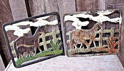 2 Vintage Cast Iron Horse Mom & Baby Trivet Hot Plate Home & Garden Plaque Signs