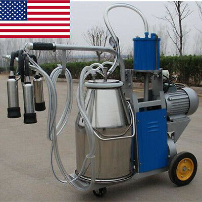 Only USA!! Electric Milking Machine Milker For Farm Cows +Stainless Steel Bucket