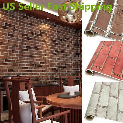 3D 45CM Roll Natural Embossed Brick Wall Wallpaper Home Decor TV Background