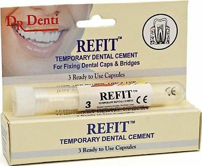 Dr Denti Refit Tooth Cement Capsules Crowns, Bridges, Veneers Inlays & Onlays