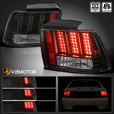 Black 1999 2004 Ford Mustang Sequential Led Tail Lights Brake Lamps Left Right