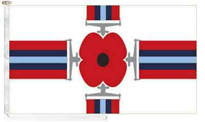 Remembrance Day Poppy Wreath On Union Jack Courtesy Boat Flag Roped /& Toggled