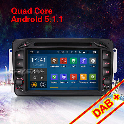 "7"" Android 5.1 Car GPS DAB+ For BENZ C/CLK/M/G Class W203 W209 W163 Viano 3063AM"