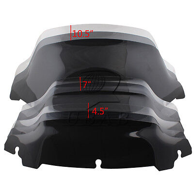 """Smoke Clear 7"""" 4.5"""" 10.5"""" Wave Windshield for Harley Touring FLHT FLHX 2014-16"""