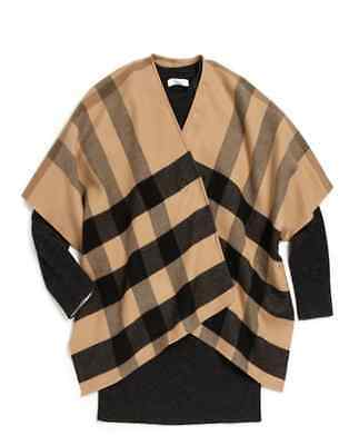 BURBERRY GIRL House Check WOOL CAMEL CAPE PONCHO SCARF, ONE SIZE, WOMEN XS - NWT