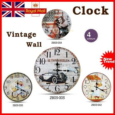 Large Vintage Rustic French Wall Clock Kitchen Shabby Chic Retro Home