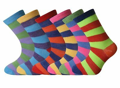 6 or 12 Pairs Childrens Boys Girls Coloured Funky Designs Socks All Sizes