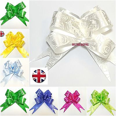 10 Pull Bows 30-mm Wedding Car Gift Wrap Ribbon Florist Pew Xmas Decorations