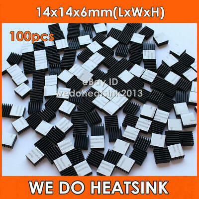 100pcs 14*14*6mm Small Black Anodized Heatsink Cooler With Thermal Adhesive Tape