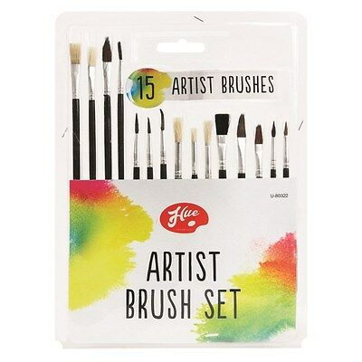 15 Piece Artist Paint Brush Set Flat & Tipped Different Size & Length Brushes