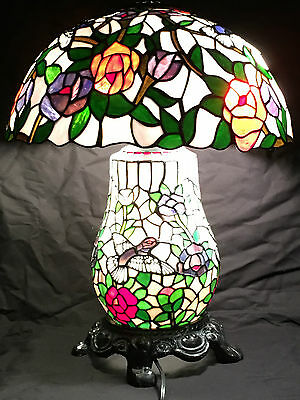 Vintage Tiffany Style Stained Glass Hummingbird Lamp Double Lit Antique Rare