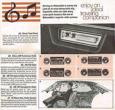 1969 Oldsmobile OPTIONS / ACCESSORIES Brochure:WHEELS,STEREO,8 Track,RACK,CRUISE