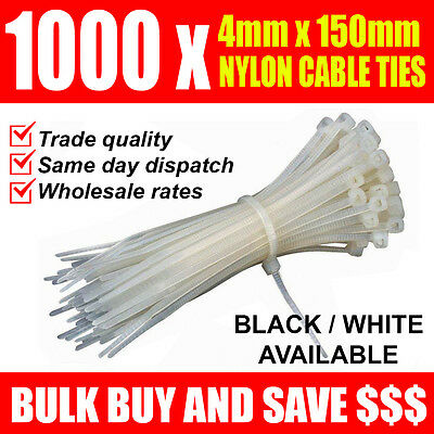 BULK BUY: 1000 x NYLON CABLE TIES 4mm x 150mm - trade quality wholesale