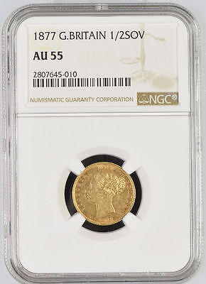1877 Queen Victoria Great Britain London Mint Gold Half Sovereign Coin NGC AU 55