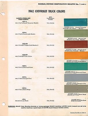 1962 Chevy TRUCK Color Chip Paint Sample Brochure / Chart: PickUp,