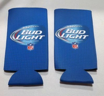 New Authentic NFL Bud Light Beer Koozie Coolie 16 oz Slim Bottle Can - Pack of 2