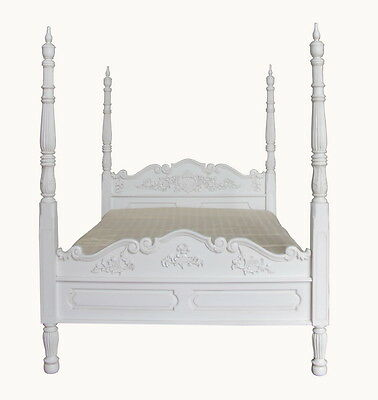 6' Super King Colonial Four Poster Bed Solid Mahogany Antique White NEW B025P